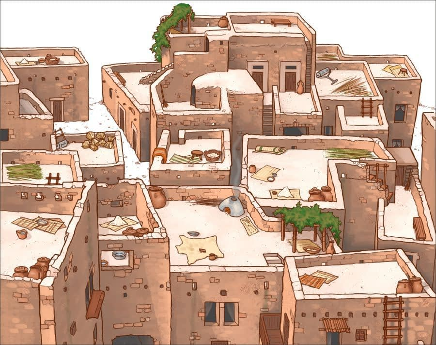 Ancient houses with flat roofs